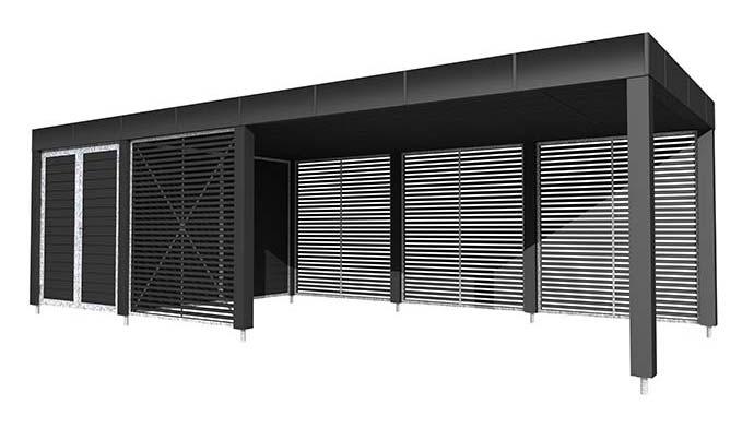 Smart Stockholm serien | Enkelt og dobbelt carport | Design din Moduo FM47