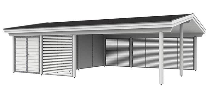 Dobbelt carport med redskabsrum og sadeltag - M48