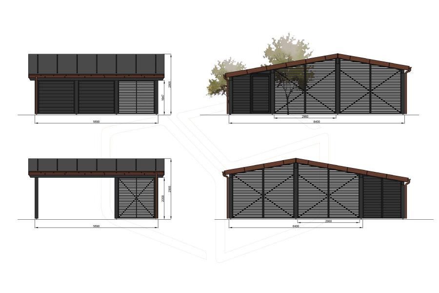 Dobbeltcarport med redskabsrum - H1- Hampton-serien